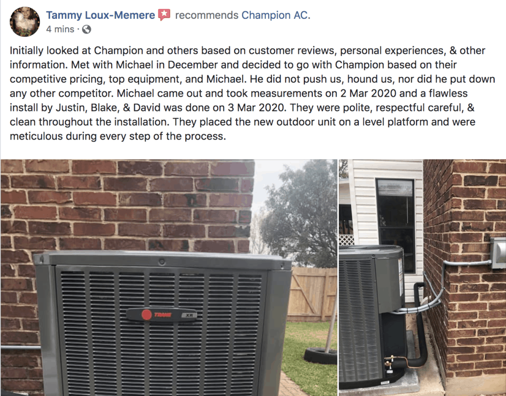 Champion AC Facebook Review